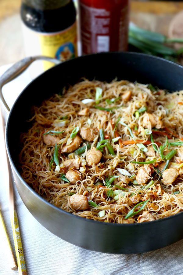 Pancit (Filipino) ~ Stir-fried chicken, pork, or shrimp with carrots, cabbage, green beans, & green onions. Rice noodles, bean thread noodles, or vermicelli are added to broth for a few minutes until done.