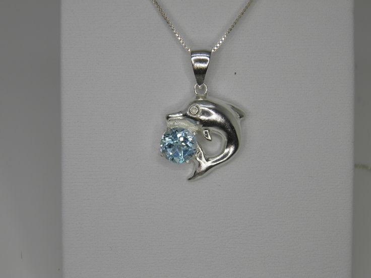 #Valentines gift new 925 Sterling Silver Dolphin pendant necklace w/1.53ct Swiss Blue Topaz 9mm Round just $35