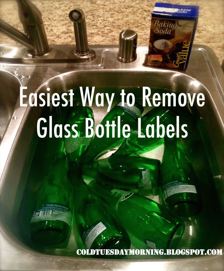 The EASIEST way to remove glass bottle labels. They literally just slide right off!