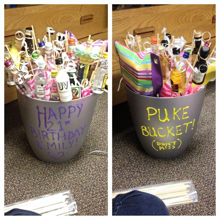 Best 21st Birthday Gift! 21 Bottles & Hangover Kit In A Puke Bucket!