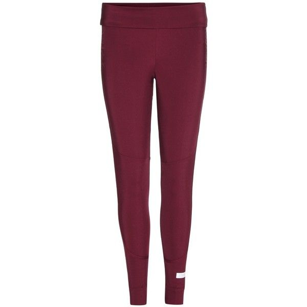 Adidas by Stella McCartney The Fold Tight Leggings (1.032.860 IDR) ❤ liked on Polyvore featuring pants, leggings, red, adidas trousers, adidas pants, purple pants, red leggings and fold over pants