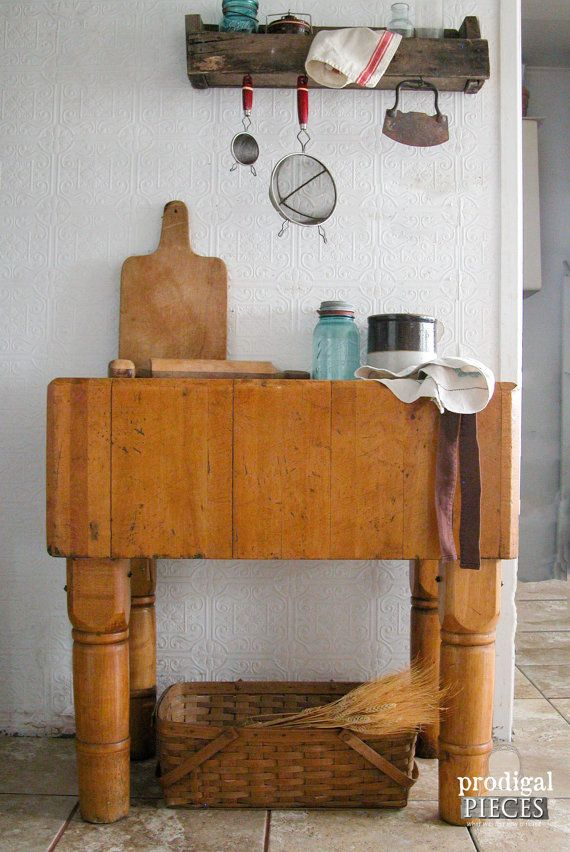 Antique Solid Maple Butcher Block Table Island on Turned Farmhouse Legs ~ Rustic Shabby Cottage Chic Style by Prodigal Pieces on Etsy  www.prodigalpieces.com