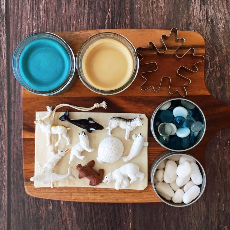 Arctic sensory play kit with playdough, pebbles, glass gems, cookie cutter and animal figures.
