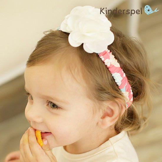 Korea Kinderspel Baby Girls Corsage Flower Hair Band Accessories 100%Cotton 21CM #KinderspelKorea