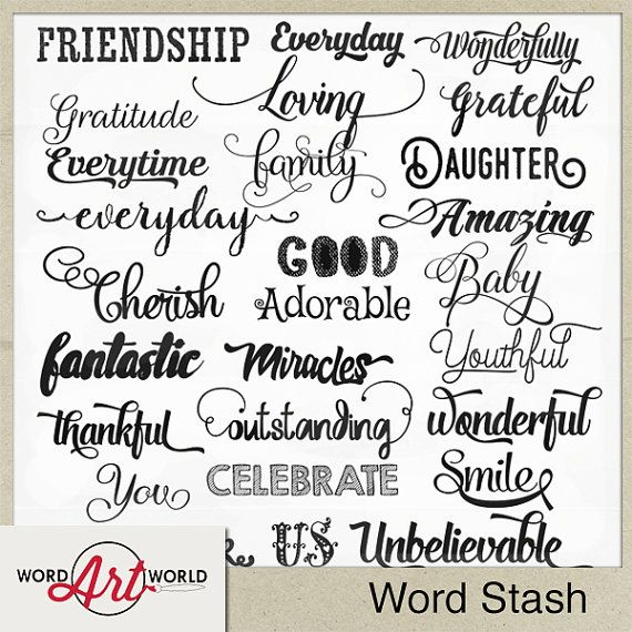 Digital And Printable Overlay Word Art Set Instant Download Word Stash Cu Ok Commercial Use Png Images Scrapbooking Digital Word Art Card Sentiments Card Sayings