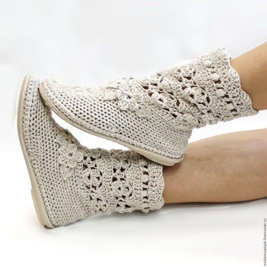 """Обувь ручной работы. Ярмарка Мастеров - ручная работа. Купить Льняные сапожки """"Романтика"""". Handmade. Бежевый, Вязаные сапоги"""