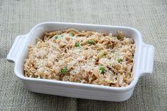 Tuna Tetrazzini from Zestuous: spaghetti, butter, onion, celery, tuna, peas, flour, milk, cheese, salt, cajun seasoning, panko breadcrumbs