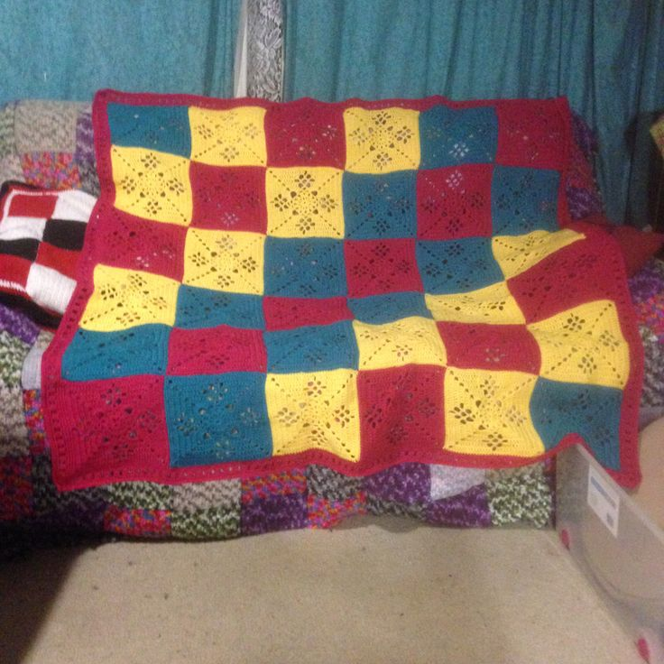 Victorian Lattice Afghan approximately 150cm squared.