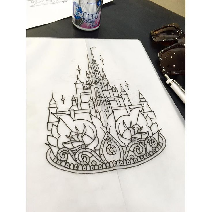 Disney castle and tiara design for a customer ✌️ Lots of space to tattoo, just…