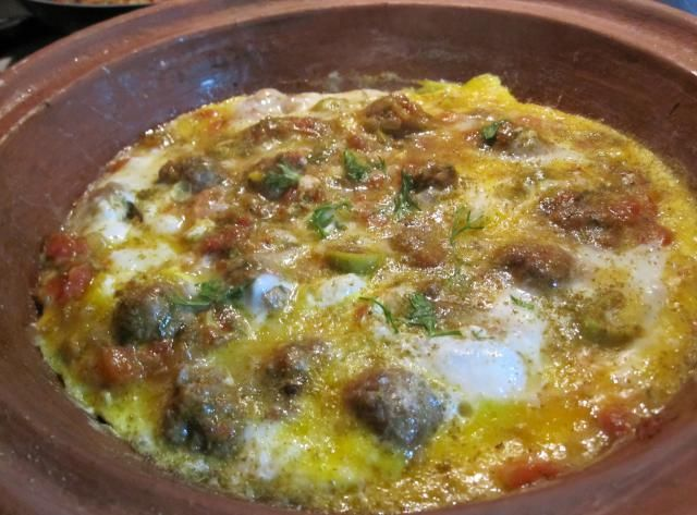 41 Simple and Easy Moroccan Recipes: From Breakfast to Dessert: Kefta and Egg Tagine with Tomatoes, Onions and Olives