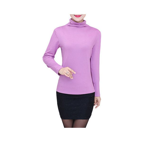 Solid Color Patchwork Long Sleeve High Collar T-Shirts For Women ($16) ❤ liked on Polyvore featuring plus size women's fashion, plus size clothing, plus size tops, plus size t-shirts, purple, women tops t-shirts, pink long sleeve t shirt, purple tee, colorful t shirts and purple t shirt