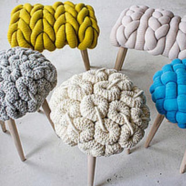 Giant knit stools