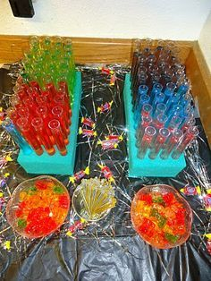 Jolly rancher test tube shots & vodka gummy bears.