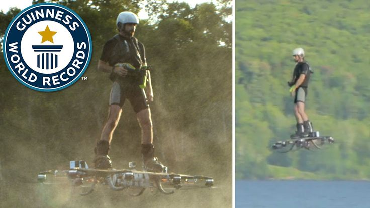 Farthest journey by hoverboard - Guinness World Records | Home-made Drone Board with eight drone-style engines and propellers attached.