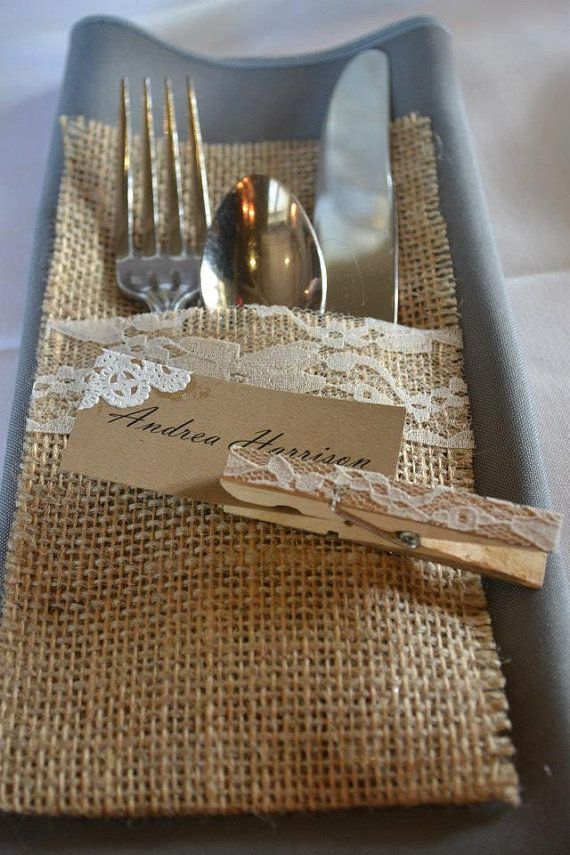 Lace Place-card holders Rustic Placecard by RebeccasSilvaLining