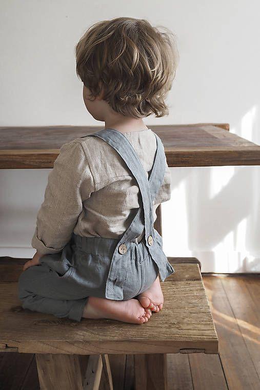 8b78c1fa3c89 Detské ľanové nohavice na traky   SIMPLY GREY v roku 2019
