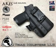 """ARES Holster shown for the Sig Sauer P320 Compact Carry  equipped with the Surefire XC1 weapon mounted light, Right Hand Draw, in Carbon Fiber, with Black Enhanced Triad Spartan 1.5"""" Clip, Zero Cant Angle"""