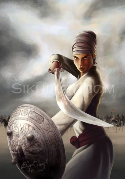 Mai Bhago by Sikh artist Bhagat Singh. Visit his website at: http://sikhiart.com/