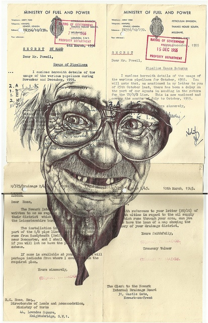 'the redacted thoughts of a gameshow host (leaders of men)' Bic biro drawing on 1940s/50s documents. by mark powell bic biro drawings, via Flickr