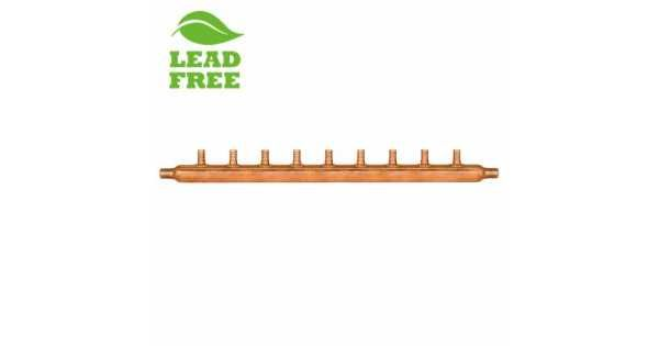 Can be used with both hot and cold drinking water lines or with hydronic (radiant) heating. 9-Branch Siuox Chief copper manifold suitable for hot/cold drinking water as well as radiant heat applications. This copper manifold is compliable with following standards ASTM Standard F1807, ASTM F2159, AST