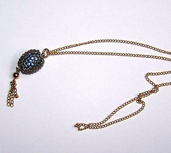 Swarovski Blue Zircon Crystal Finch Egg Necklace by annimae182, $14.99 #oketsy #oklahoma #madeinoklahoma