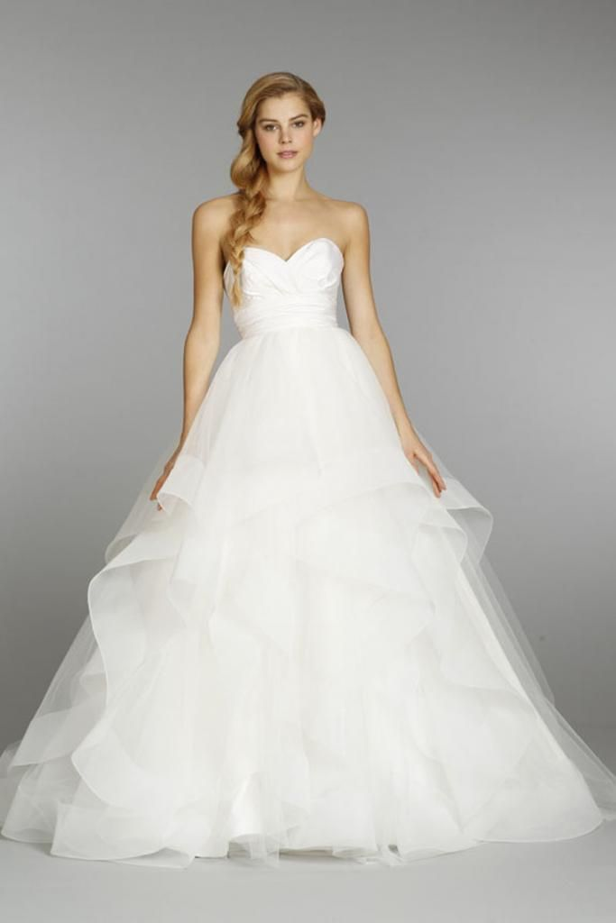 Hayley paige fall 2013 style londyn ivory strapless for Hayley paige wedding dresses cost