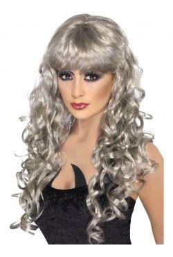 Long Curly Silver Siren Wig