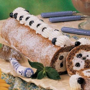 """Blueberry Cream Nut Roll Recipe -""""For a special occasion or family treat during blueberry season, try this wonderful dessert,"""" suggests field editor Schelby Thompson of Camden Wyoming, Delaware. """"Don't let the recipe's length put you off - it's not complicated."""""""