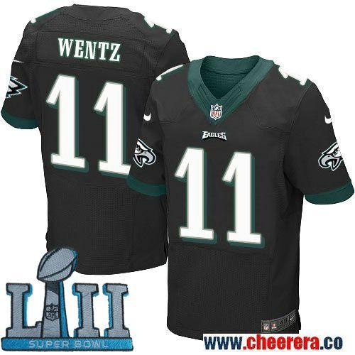 428b3b0364b Nike Men's NFL Philadelphia Eagles 11 Carson Wentz Black 2018 Super Bowl  LII Elite Jersey