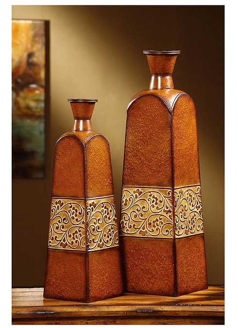 """Crestview Collection CVVSA395 - Square Metal Vases w/Textured Band in Tobacco Brown Stone Finish Square    Dimensions: Sm: 7"""" Square x 24.5"""" H, Lg: 8.5"""" Square x 30.25"""" H"""