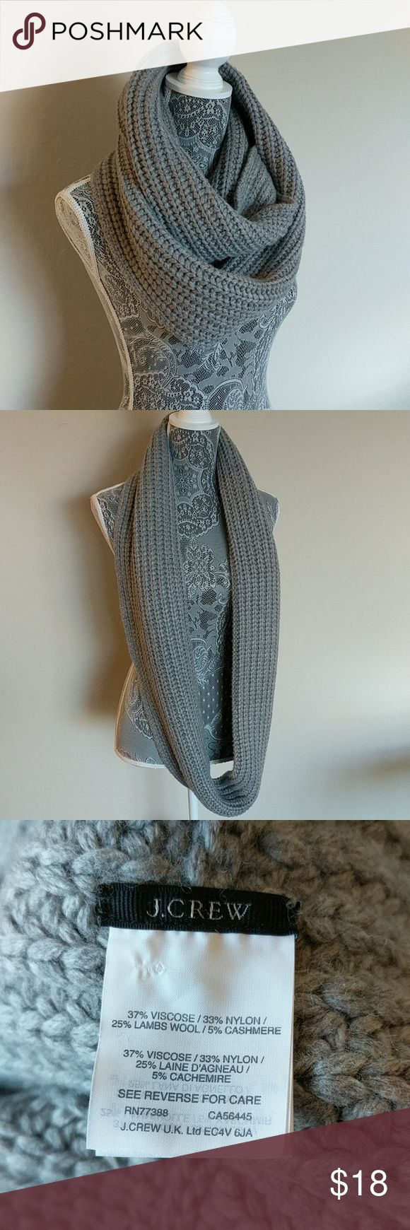 J. Crew Grey Chunky Infinity Scarf Only worn a few times and in great condition. J. Crew Accessories Scarves & Wraps