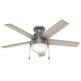Hunter Anslee 46-In Matte Silver Flush Mount Indoor Ceiling Fan With L