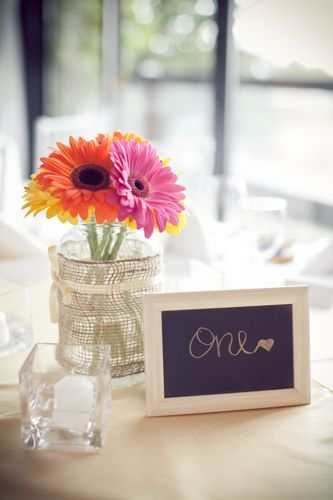 Table numbers. So easy. Buy dollar store frame and spray paint them whatever color you like, then use chalkboard paint on the glass. Easily reusable after the wedding.