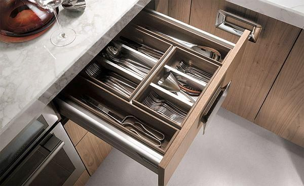 Kitchen furniture in walnut-practical drawer