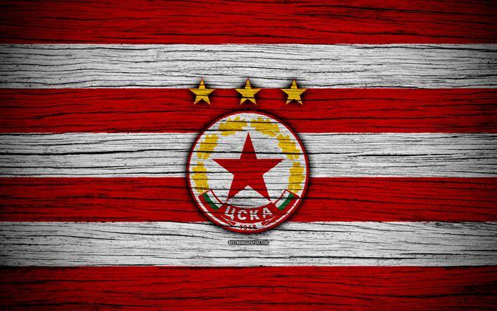 Download wallpapers CSKA Sofia FC, 4k, Parva Liga, soccer, football, Bulgaria, CSKA Sofia, logo, wooden texture, football club, FC CSKA Sofia