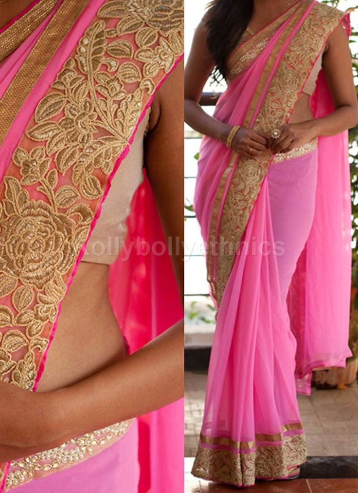 Shop Inspired style Pink color georgette party wear saree at kollybollyethnics…