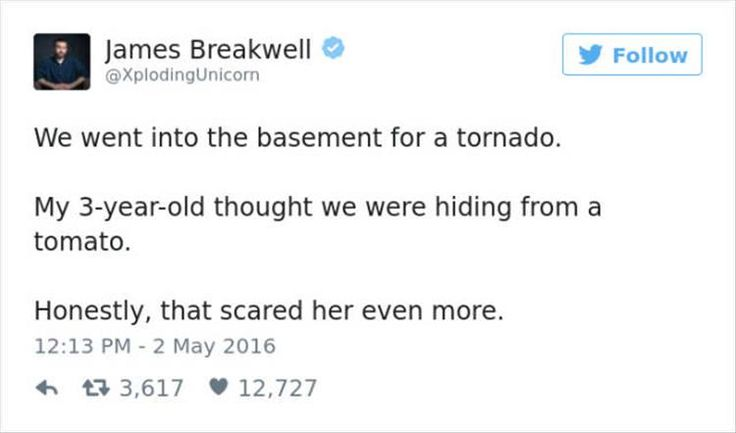 We went into the basement for a tornado. My three year old thought we were hiding from s tomato. Honestly, that scared her even more