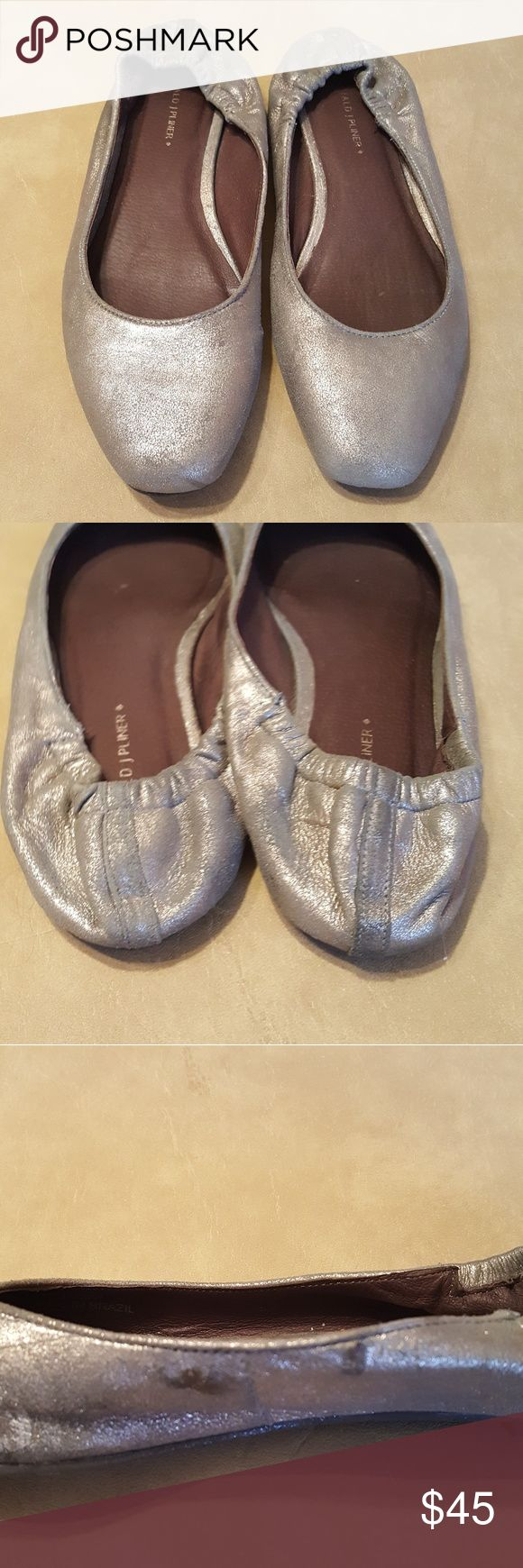 Donald J Pliner silver ballet flats Donald J Pliner brushed silver suede ballet flats. Blemishes on right shoe-as shown in photo. Donald J. Pliner Shoes Flats & Loafers