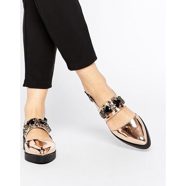 ASOS MERRY Flat Shoes (€45) ❤ liked on Polyvore featuring shoes, flats, nudemetallic, jeweled flats, pointy toe slingback flats, slingback flats, flat pointed-toe shoes and vegan flats