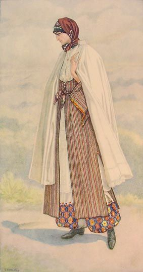 NICOLAS SPERLING Peasant Woman's Dress (Cyprus, Karpaci) 1930  lithograph on paper after original watercolour (37x20)