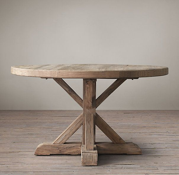 "Distressed Elm Belgian Trestle Round Dining Table $1610 - 60"" Restoration Hardware"