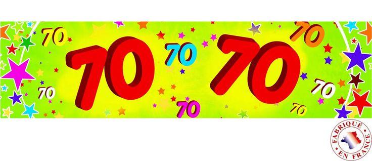 Decoración papel 70 años 16x244 cm: Esta pancarta de cumpleaños 70 años es de papel.Mide 16 cm de alto y 244 cm de largo.Es amarilla y verde con el número 70.Completa la decoración de cumpleaños 70...