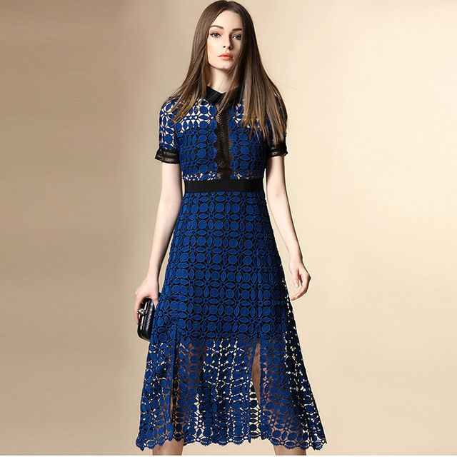 Bodycon Dress 2016 Summer High-end Fashion Brand Hollow Out Turn-down Collar Short Sleeve Mid-calf Embroidered Elegant Dress  US $59.80 /piece   Click link to buy other product http://goo.gl/p8JMyk