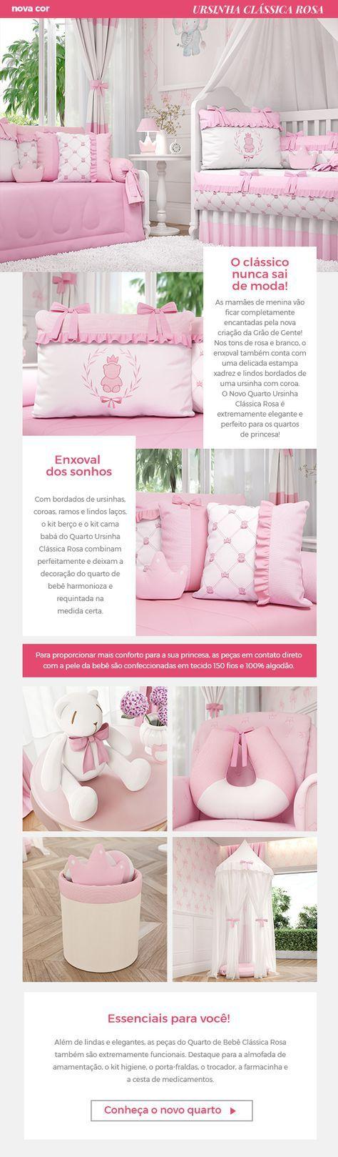 Os clássicos nunca saem de moda! Por isso o novo Quarto de Bebê Ursinha Clássica Rosa é a escolha certa para o cantinho da sua menina! Com detalhes em xadrez e bordados exclusivos, você vai se apaixonar pelo capricho no mundo cor-de-rosa que será a decoração do quarto de bebê Ursinha Clássica!