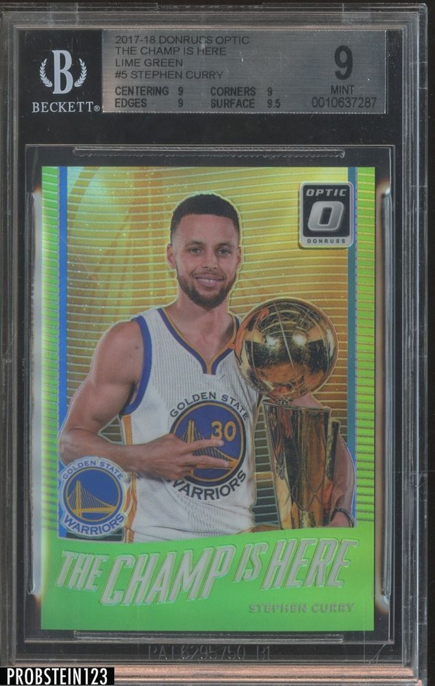 4a96a9bdb857 2017-18 Donruss Optic Lime Green The Champ Is Here  5 Stephen Curry  175  BGS 9
