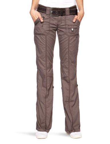 edc by ESPRIT Damen Hose 993CC1B902 Play-Turn-Up mit Gürtel  Straight Fit (Gerades Bein) Normaler Bund
