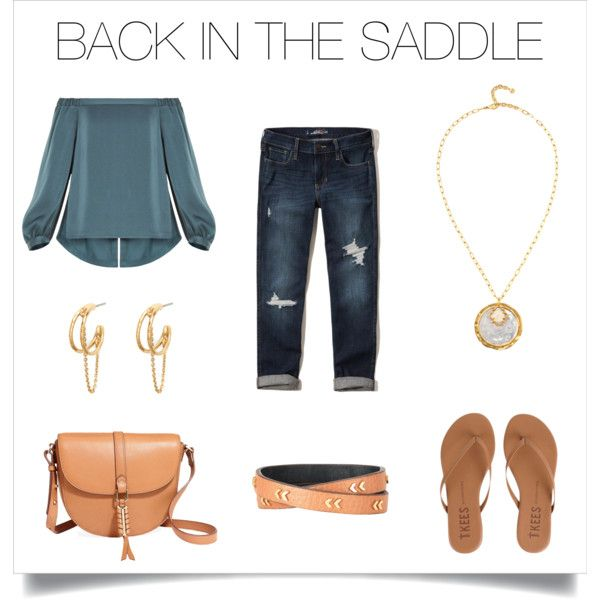 Saddle accessories make this blue outfit totally chic!