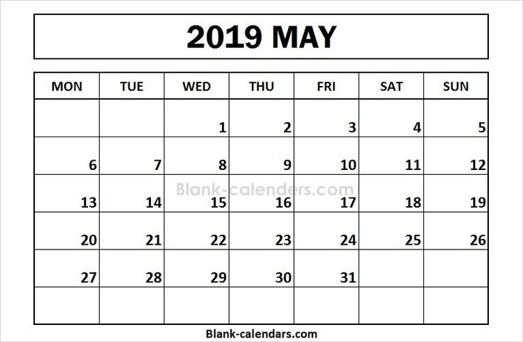 printable may 2019 calendar monday start