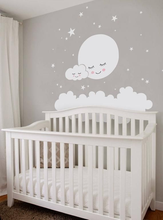 Moon clouds and stars Wall Decal vinyl sticker | Etsy  – Maternité