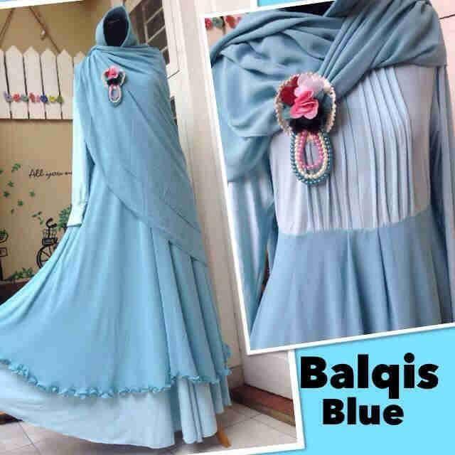 Busana muslim syar'i plus bergo balqis blue